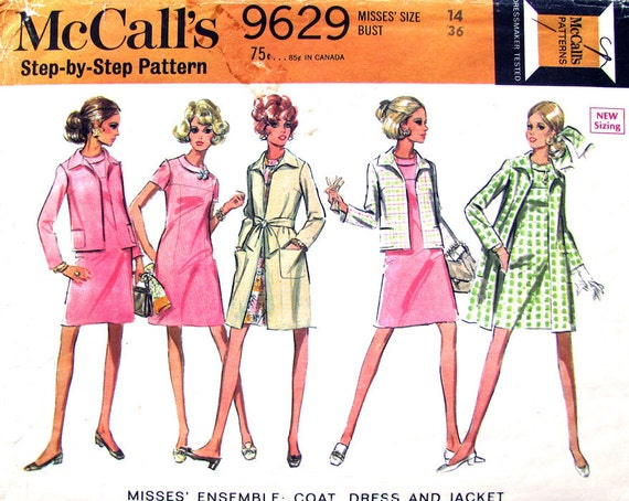 60s Dress Jacket & Long Coat Vintage Pattern McCalls 9629 Bust 36