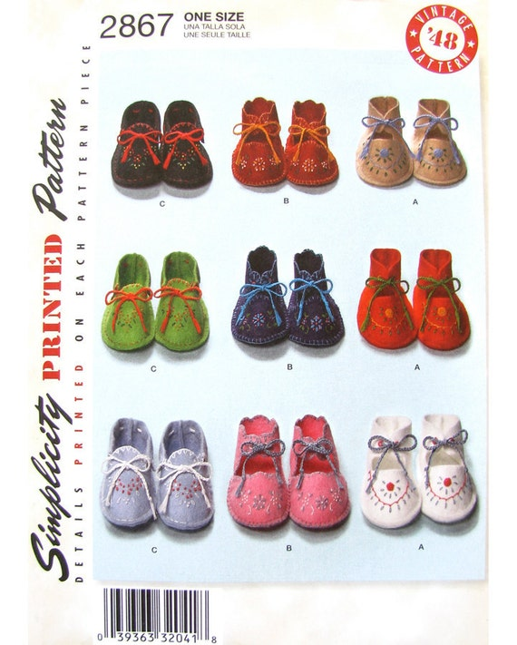 Baby Booties 40s Vintage Sewing Pattern Simplicity 2867 Reissue UNCUT One Size