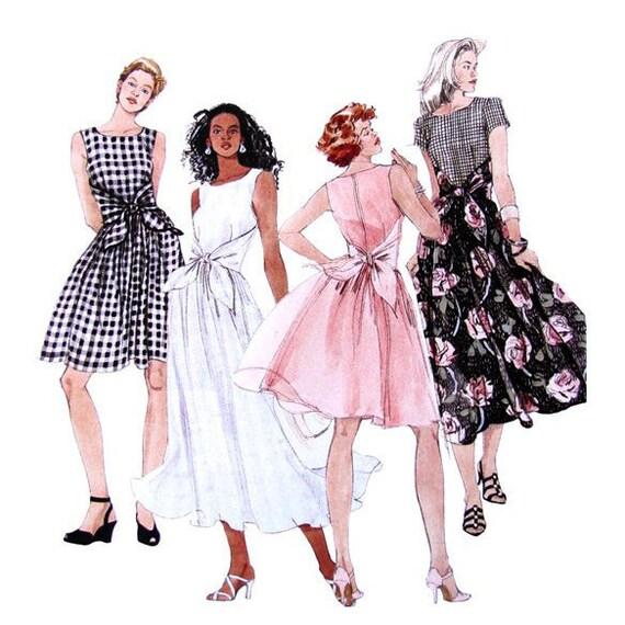 Flared Dress Sewing Pattern McCalls 8131 UNCUT Wrap Waist Tie Bust 34 36 38