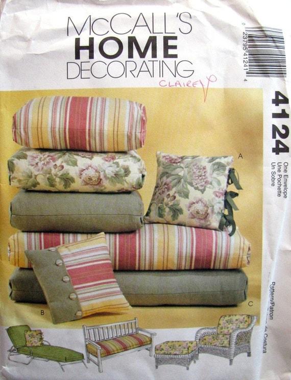 Patio Chair Cushions Uncut Sewing Pattern By