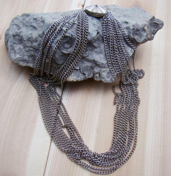 Sale - Necklace 9 Strand Chain Bib - Gorgeous Design - Signed Japan Beauty on Etsy