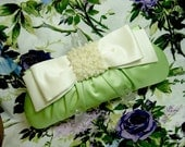 Green Satin Clutch w/Ivory Bow - Champagne Bubbles Evening Bag