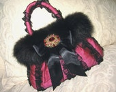 Black Evening Bag with Tulle, Trimmed in Black Fox, Satin Noir Bow and Vintage Rhinestone Brooch