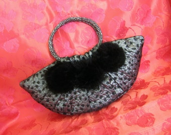 Black and Silver Leopard Print Evening Bag decorated with Black Mink Roses and Handmade Smokey Beaded Handles