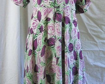 Vintage Rayon Rose Print Dress