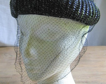 Black Sequined Dome Hat with Net Veil