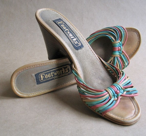 High Heel Sandals Multi Colored Strappy Bands