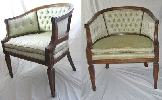 Two Vintage Chairs Celery Colored Print Fabric Wood Frame
