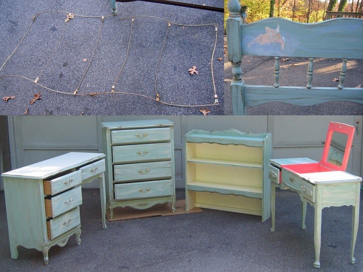 five piece hand painted bedroom set twin size canopy bed