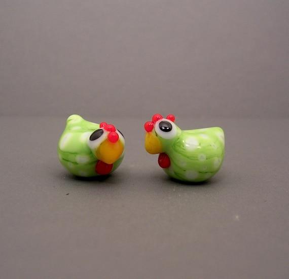 Glass Chicken Lampwork Beads Hen Pair SRA Folk Art Bird Handmade Animal Green White