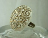 Vintage Button Winter White and Gold Swirl. Brass Filigree Ring