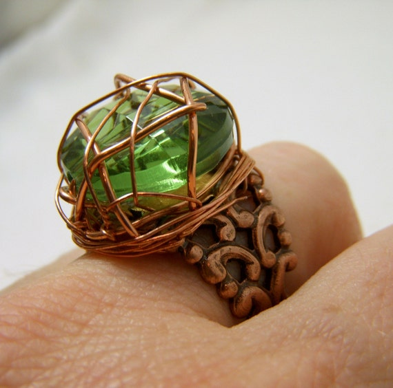 Steam Punk Copper Wrapped Crystal Cut Green Ring
