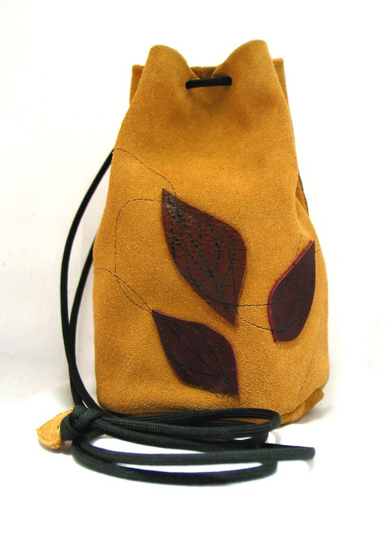 CLEARANCE! Suede Leather Cross Body/Shoulder Bucket Bag - Camel with leaves-was 35.00 now 25.00
