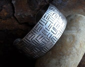"Sterling Silver Cuff Bracelet, 1"" Wide Sterling Cuff, Hand Forged Basketweave Modern Contemporary Urban Ethnic Large Metalsmith Cuff"