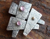 ON SALE Sterling Silver Brooch Lapel Pin, Pink Tourmaline Silver Brooch, One Of A Kind OOAK Large Statement Metalsmith Brooch, Pearl Jewelry