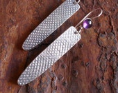 Sterling Silver Earrings, Sterling Earrings, Purple Amethyst Rustic OrganicTextured Sterling Dangle, Urban Ethnic Tribal Metalsmith Spear