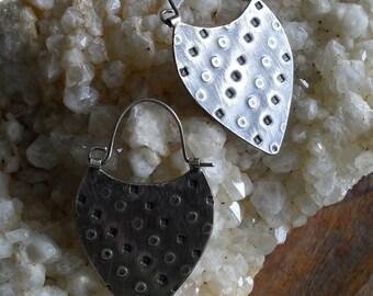 Sterling Silver Hoop Earrings, Urban Primitive Rustic Textural Metalsmith Shield  Shape Handwrought Tribal Hoop, Handmade Silver Jewelry