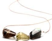 Choker Necklace Semi Precious Rough Cut Stones of Citron Smoky Quartz and Labradorite