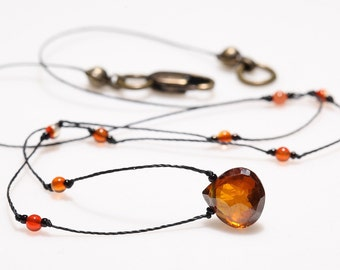 Choker Necklace with Orange Zircon Heart Shaped Stone and Carnelian Micro Beads