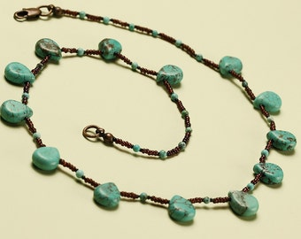 Turquoise Drop Choker Necklace with Tiny Brown Micro Beads