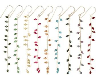 Long Swarovski Crystal Earrings on Sterling Silver Chain - Custom Colors