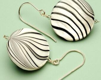 Zebra Shell Pearl Earrings on Sterling Silver Earwire