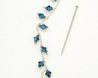 Long Swarovski Crystal Earrings in Aquamarine