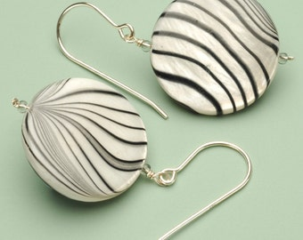 Zebra Shell Pearl Earrings on Sterling Silver Earwire
