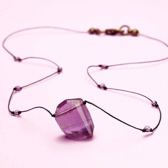 Amethyst Necklace Rough Cut Purple Nugget Choker