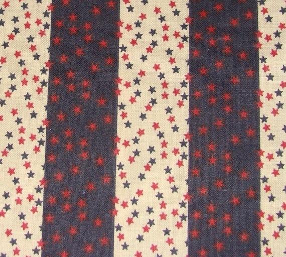 Patriotic Cotton Fabric - Stars and Stripes - Americana - 1 yard