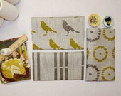 Fat Quarter Bundle - mustard yellow and gray - birds, flowers, stripes - hand screen printed linen - eco-friendly - celina mancurti