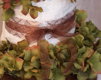 3 Tier Chocolate and Vanilla Towel Cake, Bridal Shower Towel Cake, Housewarming Gift, Wedding Gift, Bath Towels, Bridal shower gift