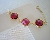 Fuchsia Bracelet, Ruby Bracelet, Gold Bracelet, Bridesmaid Bracelet, Best Friend Birthday, Ruby Necklace, Gold Necklace