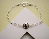 Silver Initial Bracelet, Initial Bracelet, Monogram Bracelet, Modern,  Minimalist Jewelry, Personalized Jewelry