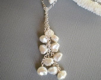 White Keishi Pearl Necklace, Silver Lariat, Mom, Wife, Sister, Holiday Gift