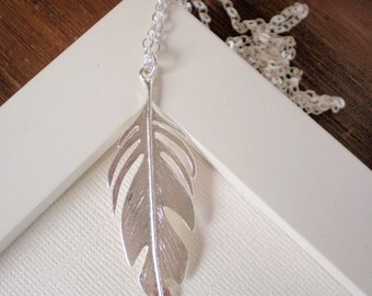Silver Feather Necklace, Feather Necklace, Trendy Jewelry,  Celebrity Inspired Jewelry
