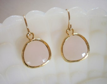 Blush Pink Earrings, Pale Pink Earrings, Gold Earrings