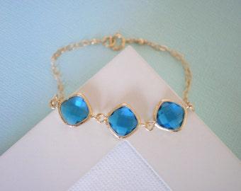Royal Blue Bracelet, Gold Bracelet, Bridesmaid Jewelry, Blue Necklace, Gold Necklace