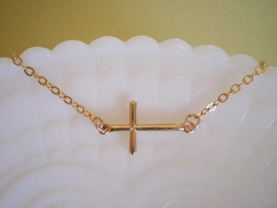 Sideways Cross Necklace, Gold Sideways Cross, Best Friend, Birthday, Gift for Her, Celebrity Inspired Jewelry