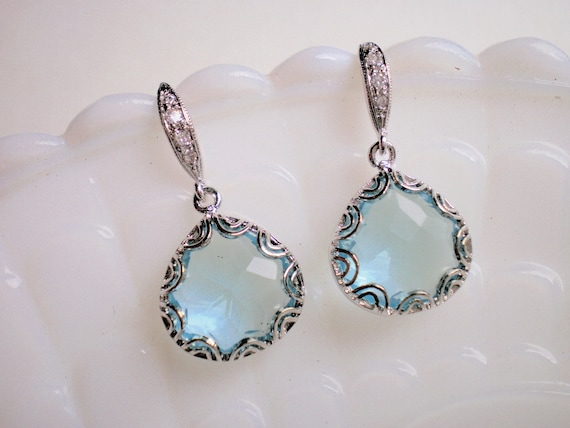 Jewelry on Sale, Clearance Sale, Baby Blue Briolette Silver CZ Earrings - Mother of the Bride