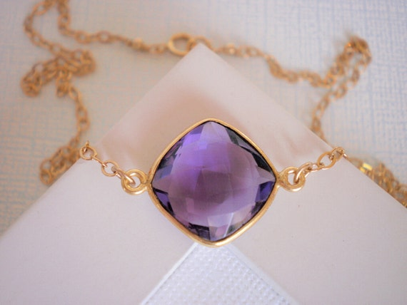 Amethyst Pendant, Gold Necklace, Simple, Modern, Classic, Everyday Jewelry