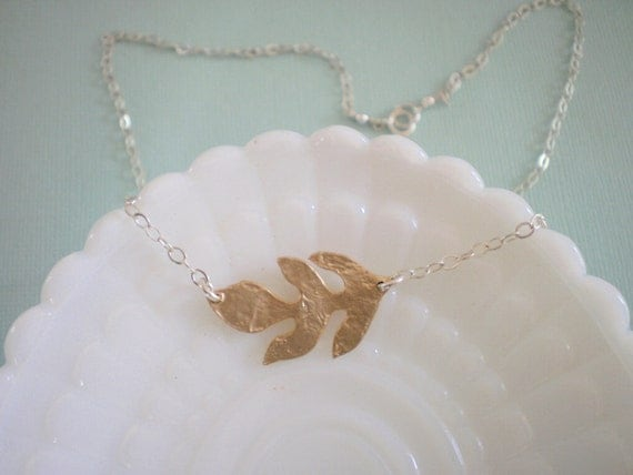 Matte Gold Leaf and Sterling Silver Necklace - Mixed Metals, Best Friend, Sister, Mother, Bride