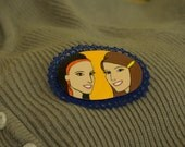 Sarah and Sarah 2 hand painted brooch