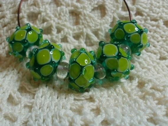 "5 Handmade Lampwork Glass ""Wonky"" Beads in Aqua and Grass Green (ID 5-1)"