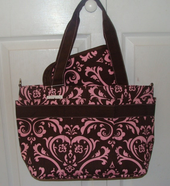 damask diaper bag w monogrammed changing pad by sewcute4you. Black Bedroom Furniture Sets. Home Design Ideas