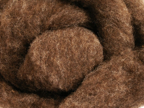 Babydoll Southdown Wool Roving - 8 oz. - Natural Brown