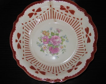 "VINTAGE 1946 Porcelain Collectible Bowl - Rare & Farm Fresh, Homer Laughlin ""Virginia Rose"" Series  Full Red Clover Specialty China Bowl"