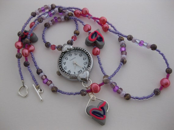 Pink & Purple Abstract Deco Silver Fimo Clay Heart Beads, Swarovski Crystals, Cranberry FWC Pearls and Antique Stone Nurses Watch Necklace