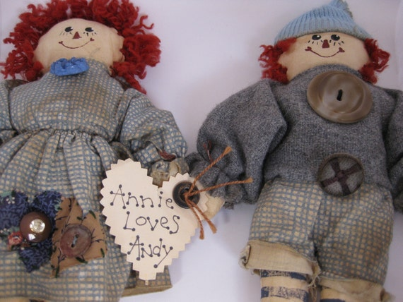 VINTAGE Annie Loves Andy Primitive Rustic Shabby Chic Raggedy Ann & Andy Dolls, 1980s Hand Sewn Nifty Buttons, Tea Stained FARMHOUSE Decor