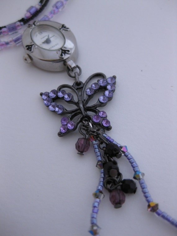 Purple Rhinestone Gunmetal Butterfly Pendant & Swarovski Crystals Nurses Watch Necklace Simple and Sleek w/Black, Pink, Purple Glass Beads